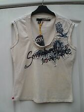 MISS SIXTY CREAM COTTON NAVY EMBROIDERED PATCHWORK SOMEBODY LOVES ME TANK TOP -L