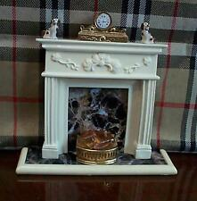dollshouse peacock fireplace 12v light up grate dogs clock miniature set