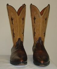 Rare J.CHISHOLM Men's Brown/Tan Leather Western/Cowboy Boots Sz 9 1/2 D USA Made
