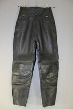 BRITISH MADE GEAR BLACK LEATHER BIKER TROUSERS SIZE 14: WAIST 28/INSIDE LEG 27IN