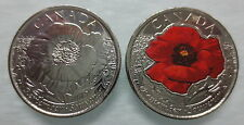 2015 CANADA 25¢ IN FLANDERS FIELDS POPPY COLOURED AND NON COLOURED COINS