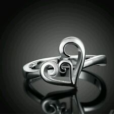 Silver Plated 925 Solid Heart Swirl Engagement Eternity Ring. Size R / 8.5. 915