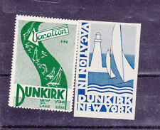 Vintage Poster Stamp Label pair VACATION IN DUNKIRK NY Lake Erie sailboat   #IM