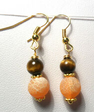 Dangle earrings - frosted Agate +Tigers eye round beads