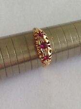Charming Edwardian 18ct Gold Ruby & Diamond Ring - Chester 1907