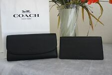 NWT Coach F56488 Black Pebbled Leather Checkbook Wallet  $250
