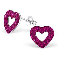 Sterling Silver Heart Stud Earrings With Crystal - Fuchsia Pink - Gift Boxed