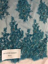 Teal Flowers Embroider And Heavy Beaded On A Mesh Lace Fabric-prom-by the yard.