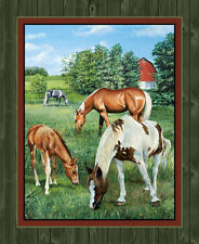 """Wild Wings Valley Crest Horse Wallhanging Panel 100% cotton 44"""" fabric panel 36"""""""