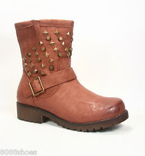 Women's Fashion Low Heel Mid-Calf Studded Military Buckle Combat Boot Size 5 -10