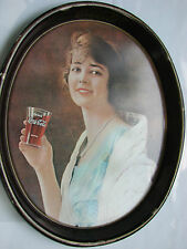 "Vintage Coca Cola Metal Tray-Girl in blue dress,15""x 12""oval 1923 Serving Tray"