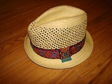 NWT MENS ROBERT GRAHAM FEDORA HAT MITHRAS 100% PAPER STRAW NATURAL PURPLE SMALL