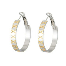 JP Passion Quality Stainless Steel Gold Plated Inlay 1-1/4 inc Hoop Earrings