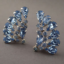 SPARKLY VINTAGE 1950'S KRAMER ICE BLUE RHINESTONE CLIP-ON EARRINGS SILVER PLATED