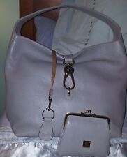 NWT Dooney & Bourke Leather Hobo with Logo Lock and Accessories-Gray