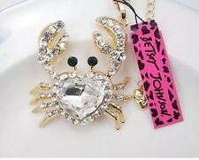 NWT Betsey Johnson Necklace Clear Crystal Gold Sparkles Heart �� Crab Summer