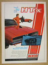1969 Dodge Charger R/T red car photo DIXCO HT/x Hood Tachometer vintage print Ad