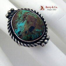 Old Pawn Navajo Turquoise Ring Twist Wire Beads Sterling Silver 1940
