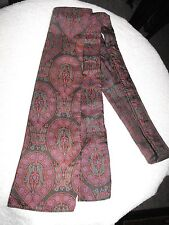 "VINTAGE LADIES SILK SCARF TIE * MAUVE/ GRAY/ GREEN * UNBRANDED * 46"" LONG"