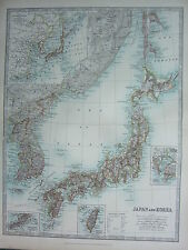 1910 MAP ~ JAPAN & KOREA TOKYO BAY FORMOSA PORT ARTHUR ~ JAPANESE EMPIRE