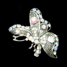 w Swarovski Crystal Clear AB BUTTERFLY Retro Style Bridal Wedding Pin Brooch New