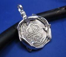 Sterling Silver Atocha Shipwreck Coin Replica with Swimming Sharks Bezel Pendant