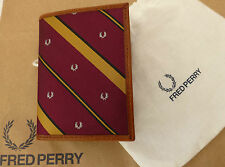 Genuine FRED PERRY Credit Card Holder Silk/Leather Slim Wallet & Dust Bag BNWT