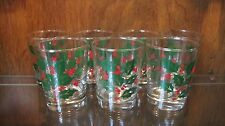 "Set of 7 Holly & Berries by BARTLETT COLLINS 14oz Flat Tumbler 4 1/2"" Tall"