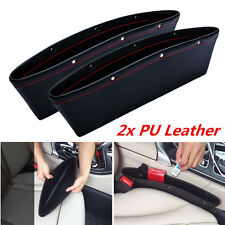 2× Catch Catcher PU Leather Car Seat Gap Slit Organizer Holder Pocket Storage