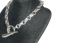 "LADIES GENTS T BAR STERLING SILVER BRACELET 29.4G  9"" JEWELLERY HOT DIAMONDS  ?"