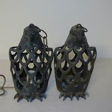 VINTAGE CAST IRON EAGLE LANTERNS - PAIR - MADE IN JAPAN 11 INCHES HIGH