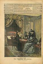 La Tireuse de Cartes Tableau de Cain Peintre Paris France 1892 ILLUSTRATION