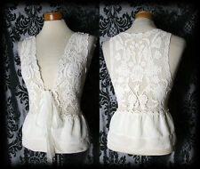 Gothic Cream Sheer Lace LAST BREATH Tie Waistcoat Shrug 8 10 Victorian Vintage