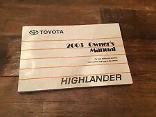 2003 Toyota Highlander Owners Manual