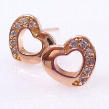 Rose Gold Plated Stud Earrings Girl Lady Boy Kids Xmas Valentine Birthday Heart