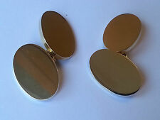 18CT classic oval Gold Cuff links, 20x13, 1.5mm thick, 18.5 grams FREE ENGRAVING