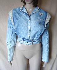 WOMENS 'ST DENIS' STUDDED BLUE DENIM JACKET WITH PADDED SHOULDERS SIZE 12 EU 40