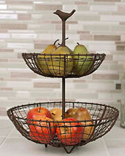 New French Country Rustic Primitive TWO TIER BIRD BASKET Bowl Tray Stand