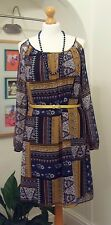 F&F NEW Boho Cold Shoulder Swing Dress Hippy Retro 70s Print Navy Mustard