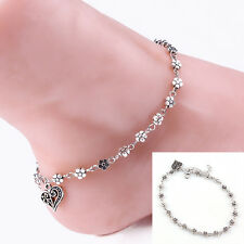 Silver Bead Chain Anklet Ankle Bracelet Barefoot Beach Foot Jewelry Ben