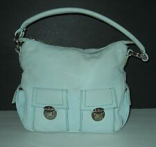 MARC JACOBS Vintage Blue Leather HOBO PURSE Push Lock Silver Hardware EUC