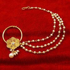 Ethnic Traditional Indian Nath Hoop Goldtone Non Pierce Nose Chain Ring Jewelry