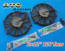 "2 ×12V 12"" Slim Radiator Cooling Thermo Electric Fan&Mounting kit"