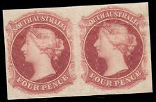 South Australia 1860 – 69 4d (Gibbons type 3) Imperf plate proof pair (MAU17)