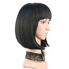 eNilecor Straight Short Hair Bob Wigs 12'' with Flat Bangs Cosplay Synthetic ...