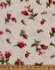 Pink Tulips/Roses on White Flowers Fleece Fabric Print By the Yard A346.03