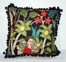 "NEW LITTLE BLACK FRIDA KAHLO POMPOMS CUSHION 11""X11"""