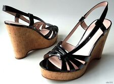 new MARC JACOBS black patent strappy cork platforms Wedges Shoes 40 10