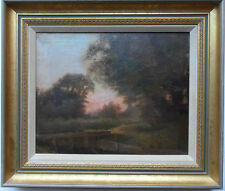 VERY FINE IMPRESSIONIST OIL ON CANVAS EVENING LANDSCAPE WITH TWILIGHT GLOW