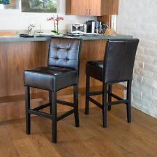 Set of 2 Dining Room Espresso Leather Bar Stools w/ Tufted Accent